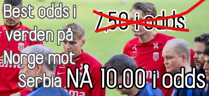 10 i odds på Norge